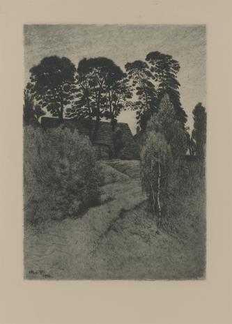 Hans Richard Volkmann, Krajobraz z chatą wśród drzew