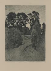 Krajobraz z chatą wśród drzew