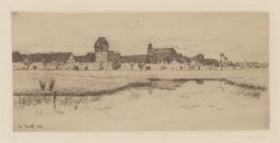 Widok miasteczka otoczonego starymi murami