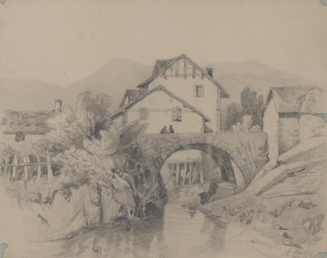 Amelie  Herbst, Widok wsi z kamiennym mostem
