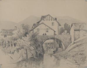 Widok wsi z kamiennym mostem