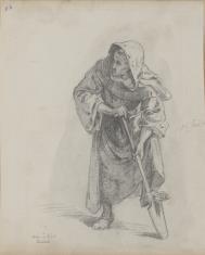 Zakonnik wspierający nogę na łopacie