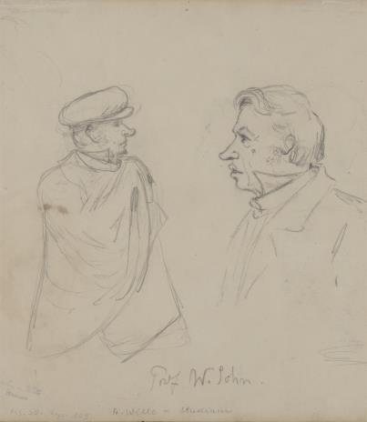 August von Wille, 1. Autoportret przed sztalugami 2. Karykatura prof. Sohna