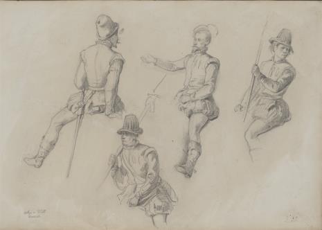 August von Wille, Studia czterech postaci w męskich ubiorach z XVI w.