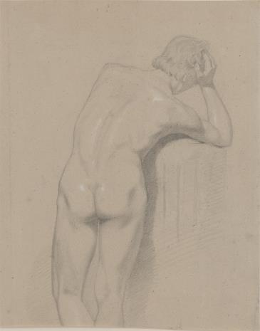 Ludwig Hugo Becker, Studia pięciu głów męskich , (na odwrociu) Akt męski
