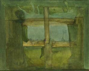 Wnętrze z drewnianą kolumną w deszczu