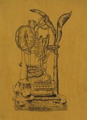 Kompozycja fantastyczna z lampą i wieńcem