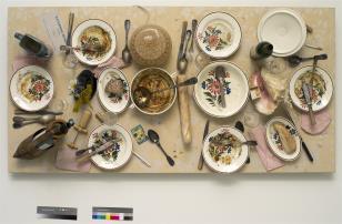 """Z serii sewilskiej nr 7 """"Zjedzone przez D.S., Katarzynę i przyjaciół. Paryż, Atelier rue du Retrait Pocz. XI 1991"""