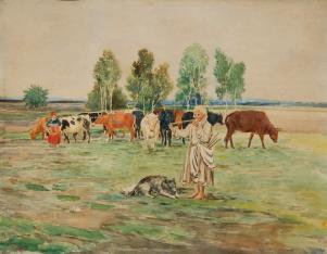 Pastuszek z krowami