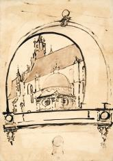 Widok na Katedrę Wawelską przez półkolistą arkadę