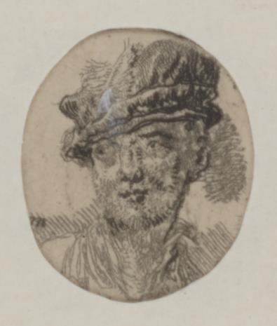 Jan Piotr Norblin de la Gourdaine, Głowa mężczyzny w berecie z piórem