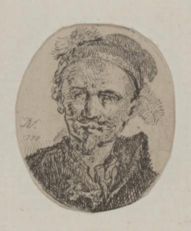 Jan Piotr Norblin de la Gourdaine, Popiersie mężczyzny  w kołpaku z piórem