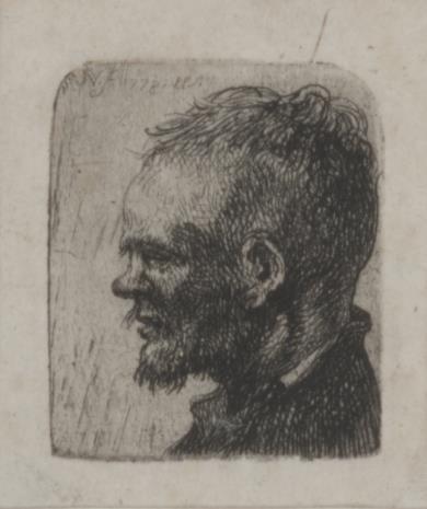 Jan Piotr Norblin de la Gourdaine, Głowa męska z zadartym nosem i szczeciniastymi wąsami