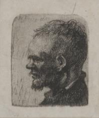 Głowa męska z zadartym nosem i szczeciniastymi wąsami
