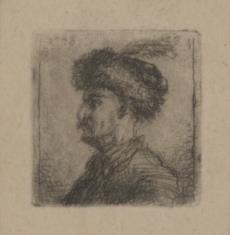 Popiersie szlachcica w kołpaku z czaplim piórem