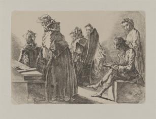 Artysta rysujący damę