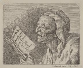 Staruszka czytająca książkę