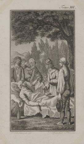 Joseph Georg Mansfeld, Scena przedstawiająca zgromadzonych wokół umierającego (Ilustracja do niezidentyfikowanego wydawnictwa).