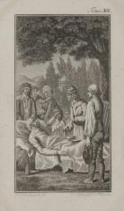 Scena przedstawiająca zgromadzonych wokół umierającego (Ilustracja do niezidentyfikowanego wydawnictwa).