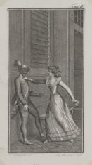 Mężczyzna w masce i kobieta. (Ilustracja do niezidentyfikowanego wydawnictwa).