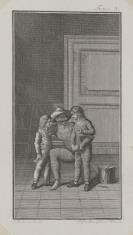 Ilustracja do niezidentyfikowanego wydawnictwa (mężczyzna w masce i dwóch chłopców)