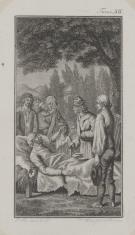 Scena przedstawiająca zgromadzonych wokół umierającego (Ilustracja do niezidentyfikowanego wydawnictwa)