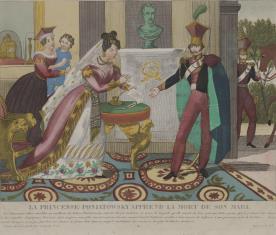 Księżna Poniatowska [sic!] otrzymuje wiadomość o śmierci męża [ks. Józefa]