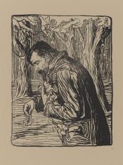 Mężczyzna zbierający liście