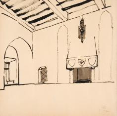 Wnętrza sali zamku gotyckiego