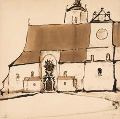 Kościół, elewacja boczna z barokowym portalem