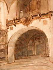 Wnętrze kościoła. Widok na kruchtę i chór muzyczny