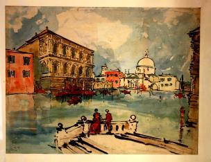 Wenecja: widok z tarasu na pałac i kościół