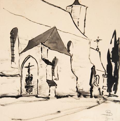 Stanisław Noakowski, Kościół gotycki z grupą ukrzyżowania na ścianie