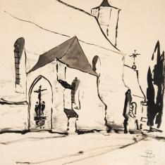 Kościół gotycki z grupą ukrzyżowania na ścianie