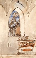 Wnętrze kościoła z renesansowym nagrobkiem