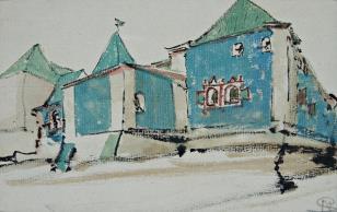 Fragment rosyjskiego miasta z murowaną budowlą