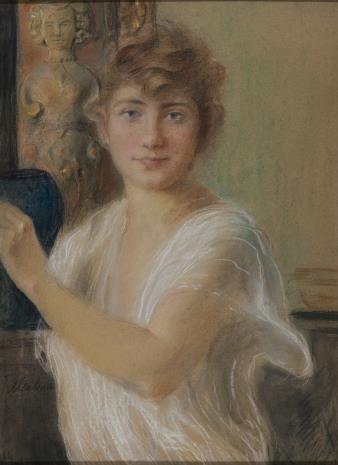 Teodor Axentowicz, Portret dziewczyny w białej sukni