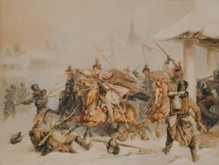 Szarża Krakusów na oddział Rosjan w miasteczku