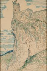 Ukrzyżowana na tle góry z ruinami zamku