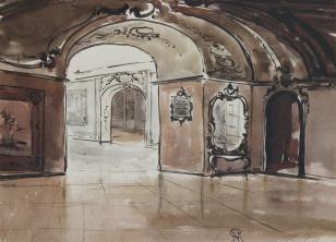 Sala barokowa z gobelinem