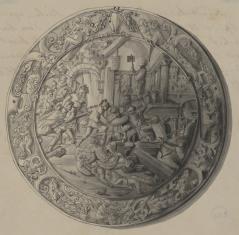 Tarcza żelazna zdobiona reliefem przedstawiającym zdobycie Troi