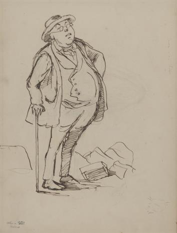 August von Wille, Mężczyzna wsparty na lasce - karykatura