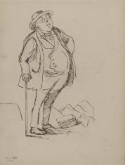 Mężczyzna wsparty na lasce - karykatura