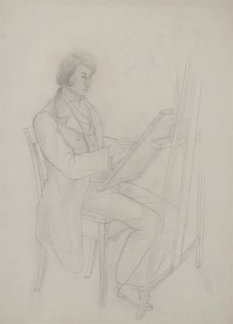nieznany, Autoportret młodego malarza przy sztalugach