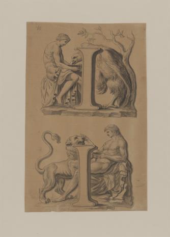 nieznany, Dwie kompozycje na jednej planszy, kopie z rzeźb antycznych: 1. Mężczyzna pojący orła 2. Mężczyzna pojący lwa