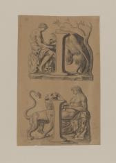 Dwie kompozycje na jednej planszy, kopie z rzeźb antycznych: 1. Mężczyzna pojący orła 2. Mężczyzna pojący lwa