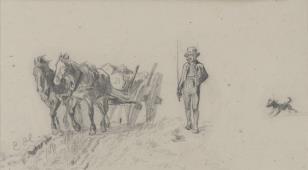Wieśniak idący obok wozu