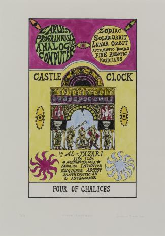 Suzanne Treister, HEXEN 2.0/Tarot/Four of Chalices - Castle Clock / HEXEN 2.0/Tarot/Czwórka Kielichów - Zegar Zamkowy