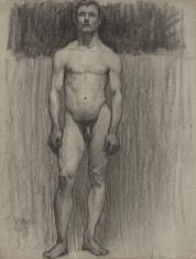 Studium aktu mężczyzny stojącego na wprost