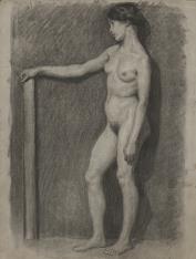 Studium aktu kobiety z wyciągniętą ręką